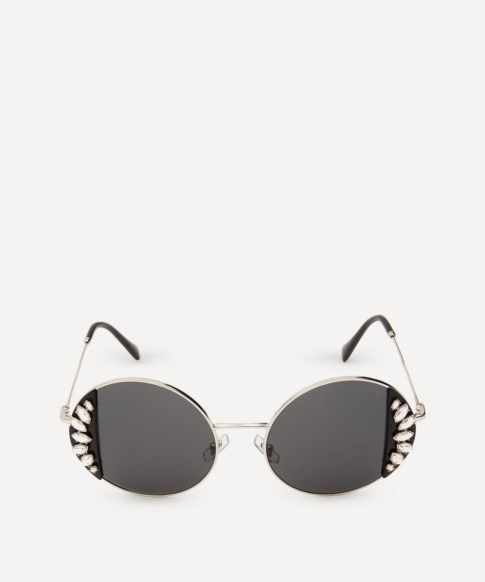 Miu Miu - Round Crystal Noir Sunglasses