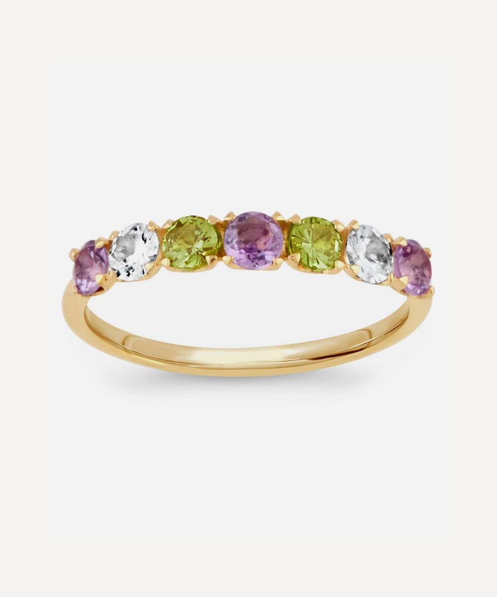 Dinny Hall - Gold Plated Vermeil Silver Suffragette Primrose Gemstone Half Eternity Ring
