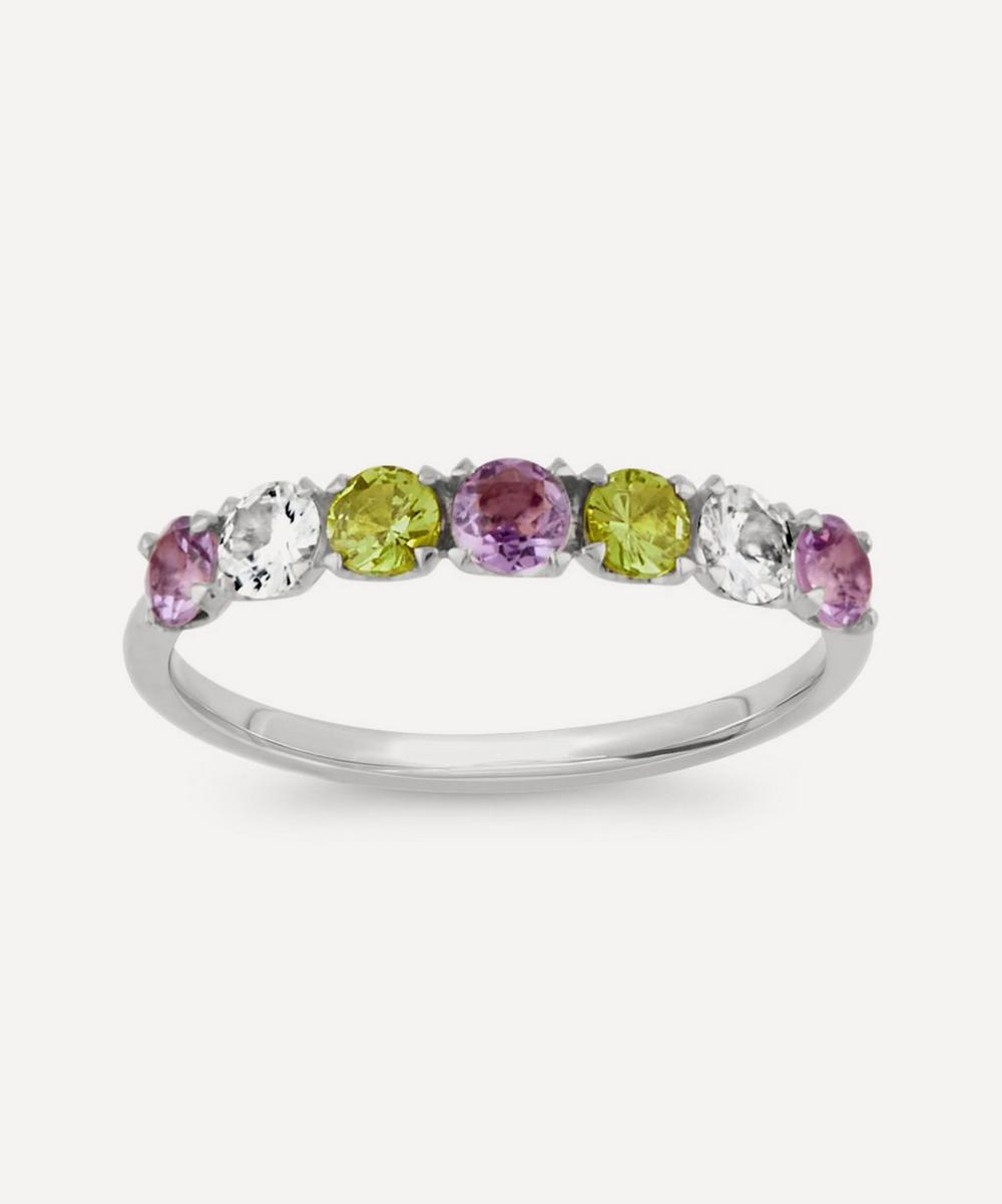 Dinny Hall - Silver Suffragette Primrose Gemstone Half Eternity Ring