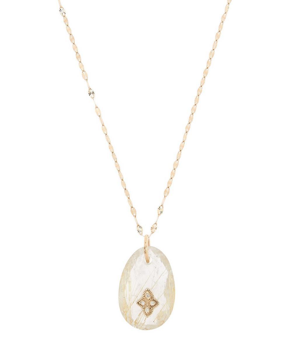 Pascale Monvoisin - Gold Gaïa N°2 Diamond and Rutilated Quartz Pendant Necklace