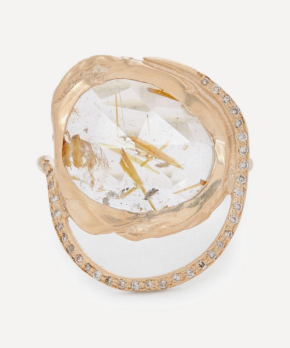 Pascale Monvoisin - Gold Gaïa Diamond and Rutilated Quartz Ring