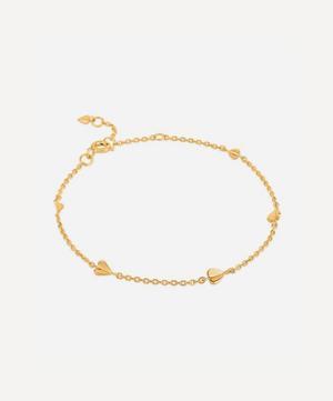 Gold Plated Vermeil Silver Bijou Folded Heart Bracelet