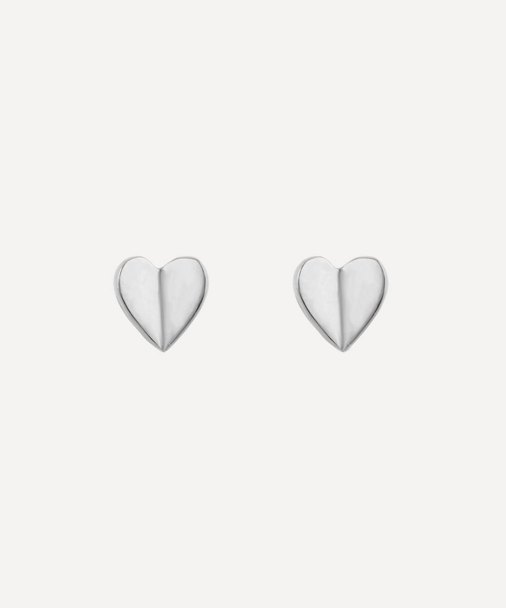 Dinny Hall - Silver Bijou Folded Heart Stud Earrings