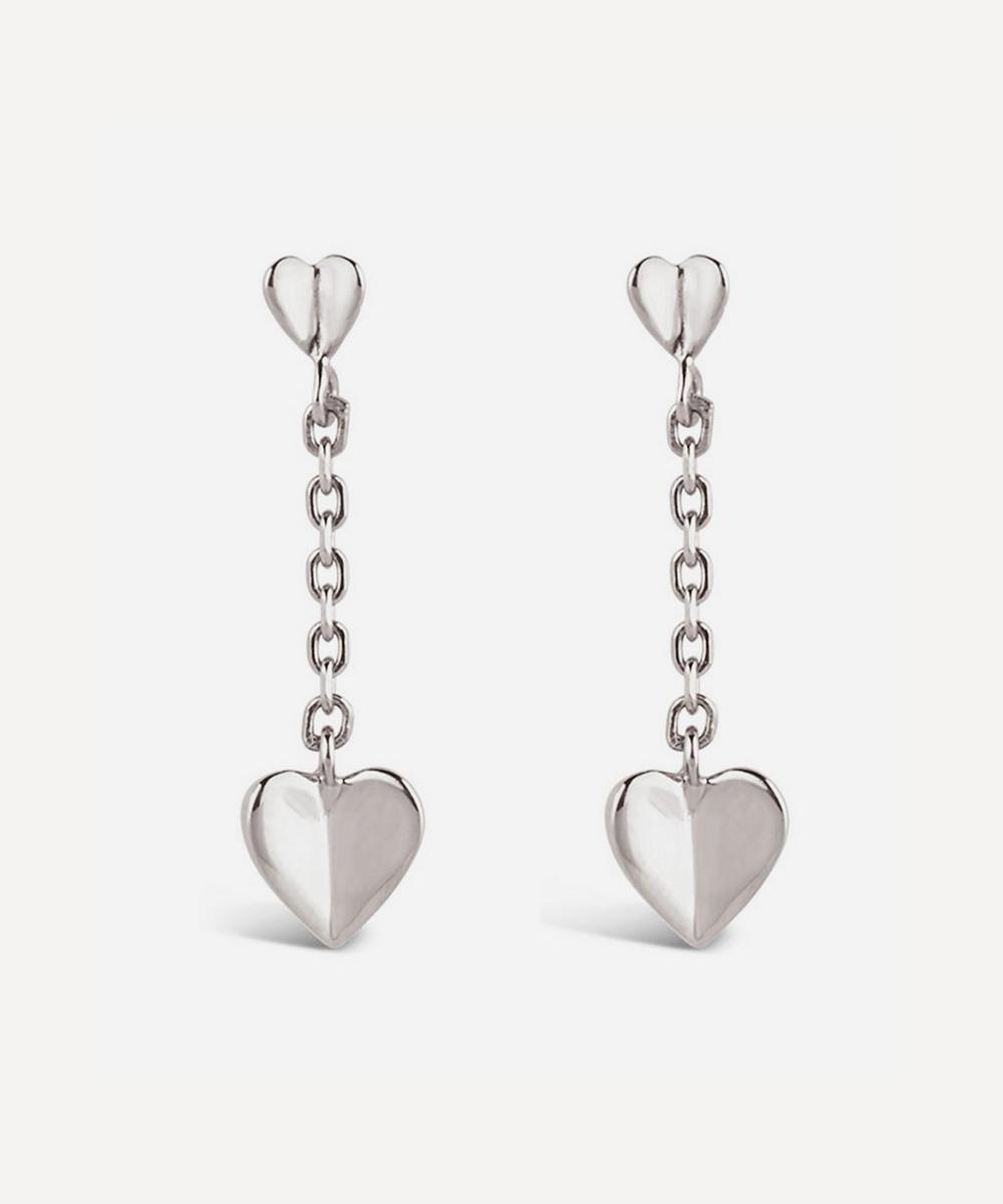Dinny Hall - Silver Bijou Folded Heart Short Chain Drop Earrings