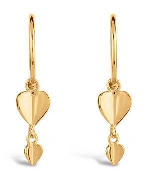Gold Plated Vermeil Silver Bijou Folded Heart Drop Earrings