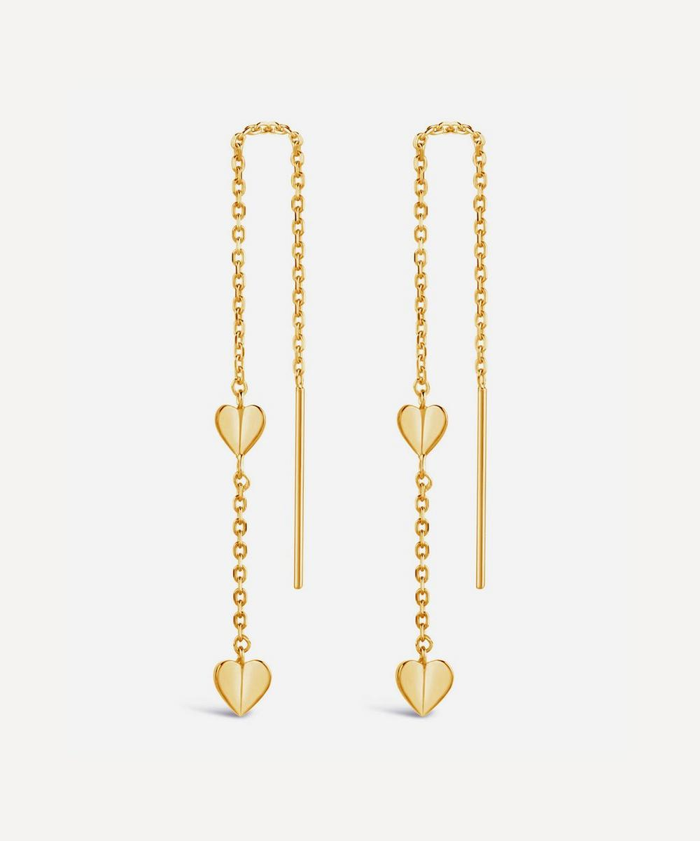 Dinny Hall - Gold Plated Vermeil Silver Bijou Folded Heart Threaded Chain Drop Earrings