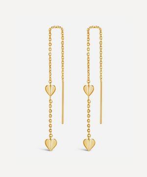 Gold Plated Vermeil Silver Bijou Folded Heart Threaded Chain Drop Earrings