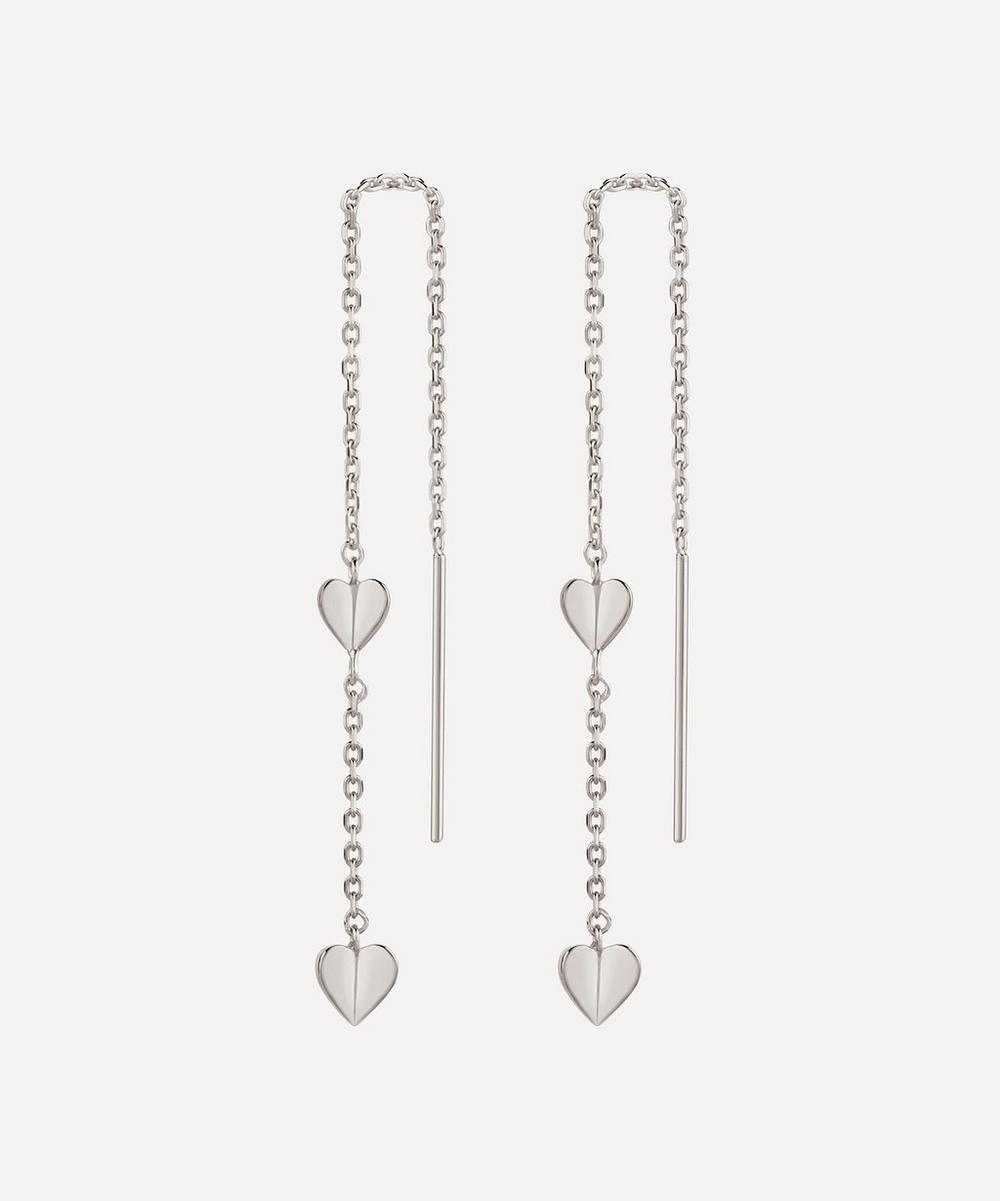 Dinny Hall - Silver Bijou Folded Heart Threaded Chain Drop Earrings