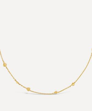 Gold Plated Vermeil Silver Bijou Folded Heart Chain Necklace