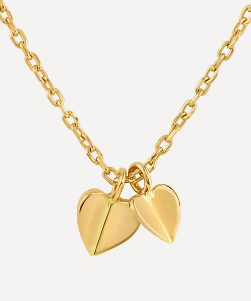 Dinny Hall - Gold Plated Vermeil Silver Bijou Folded Heart Duo Pendant Necklace