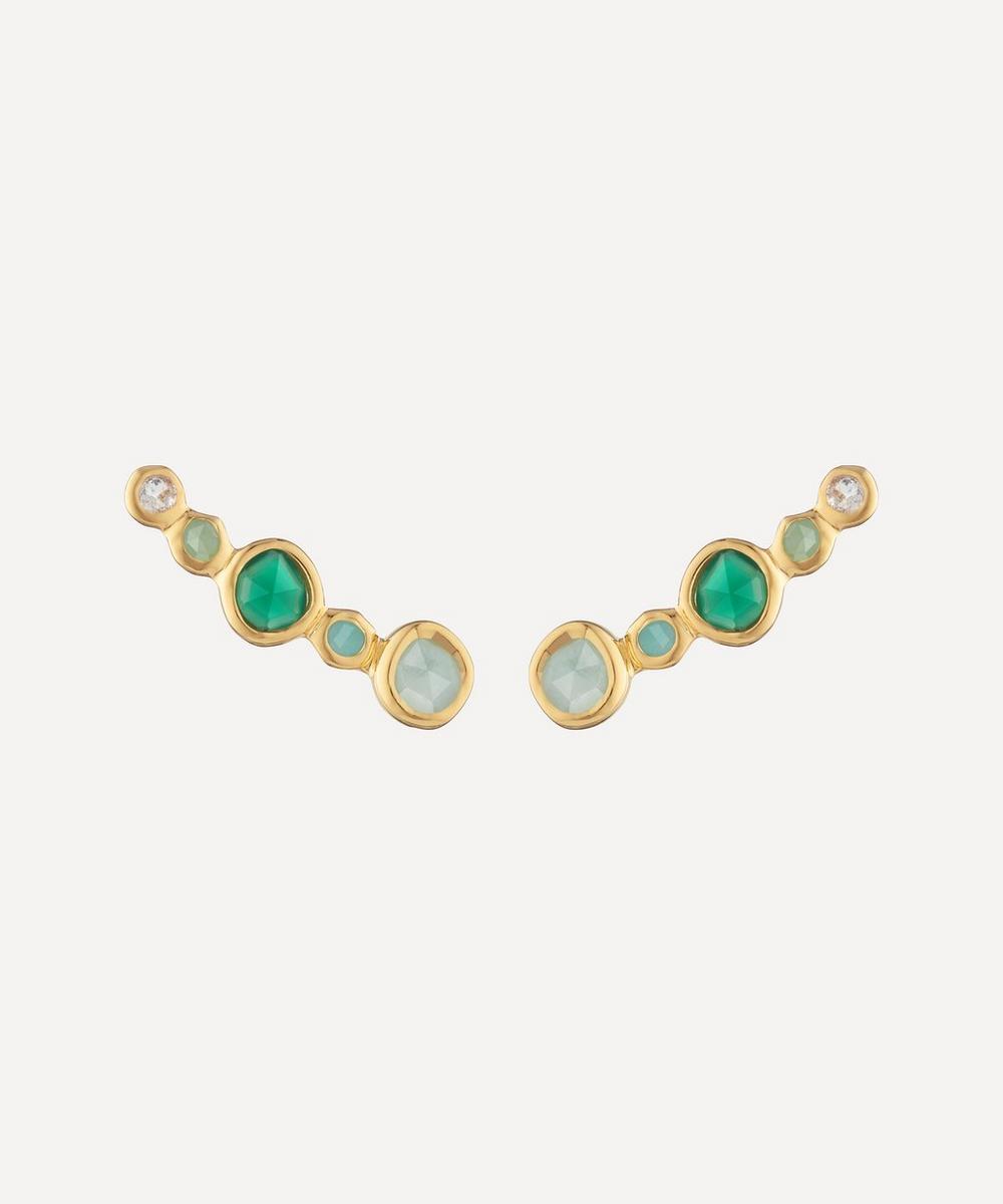 Monica Vinader - Gold Plated Vermeil Silver Siren Tonal Multi-Stone Climber Earrings