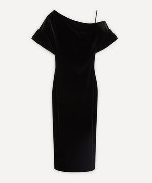 Asymmetric Stretch-Velvet Dress