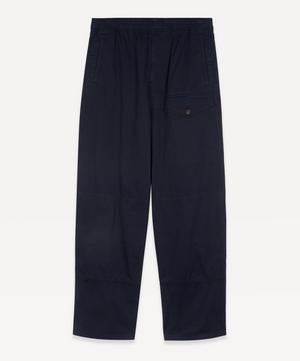 Knee Pocket Straight-Leg Cotton Trousers