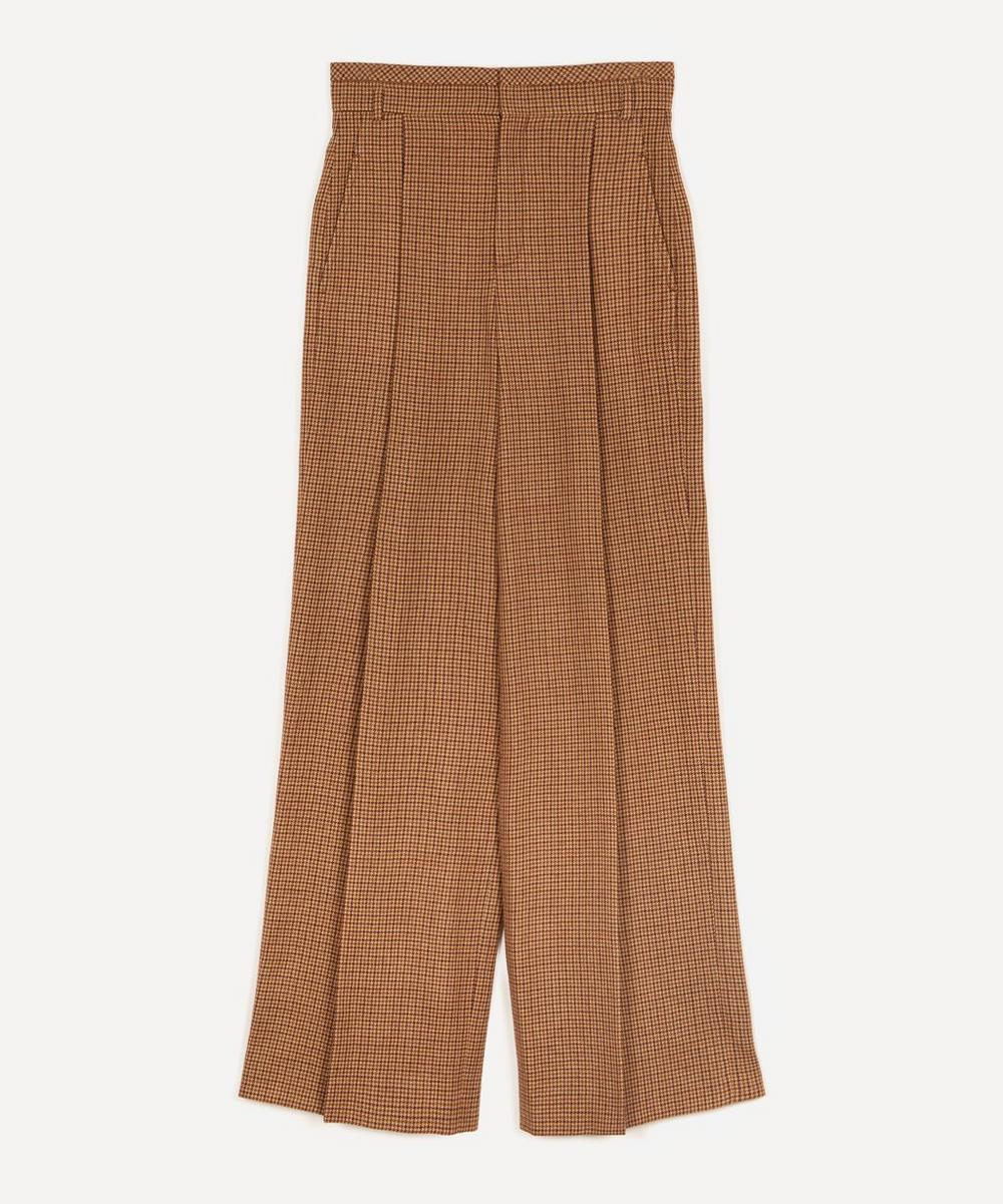 Chloé - Soft Houndstooth Wool Wide-Leg Trousers