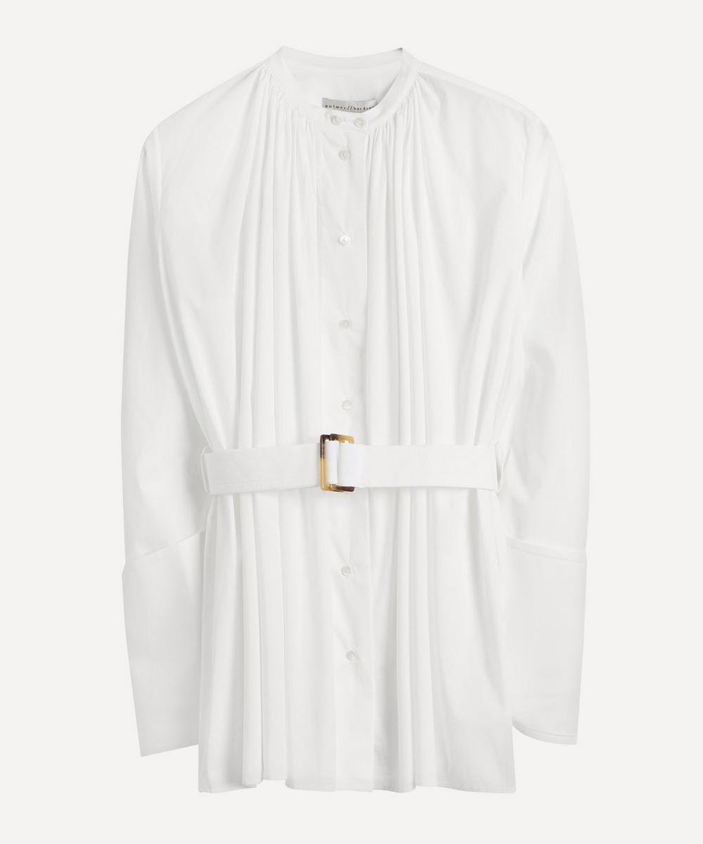 palmer//harding - Aurita Gathered Collarless Shirt