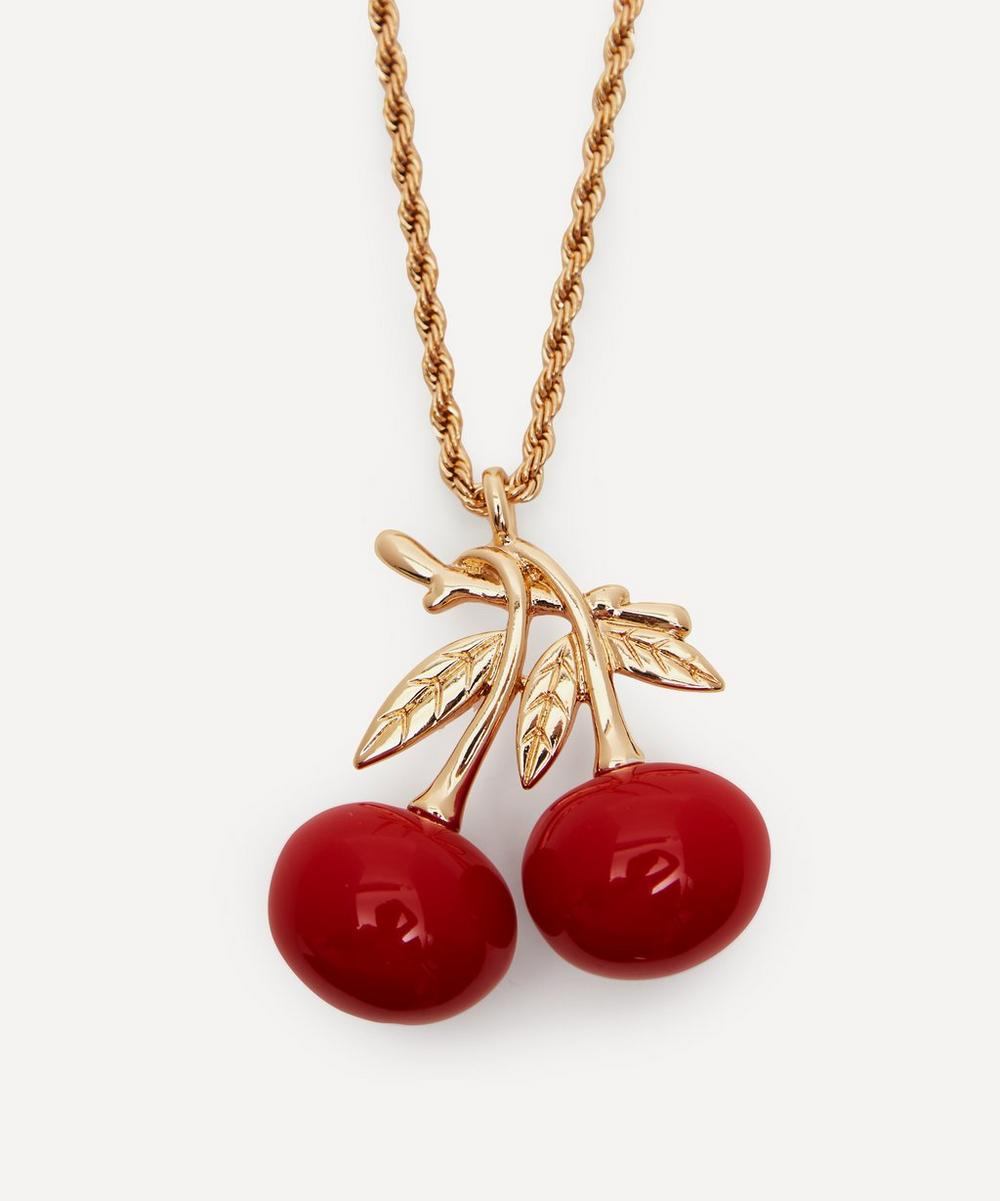 Kenneth Jay Lane - Gold-Plated Double Cherry Pendant Necklace