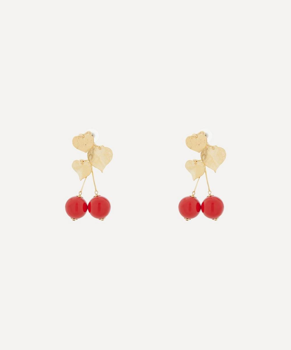 Kenneth Jay Lane - Gold-Plated Cherry Drop Earrings