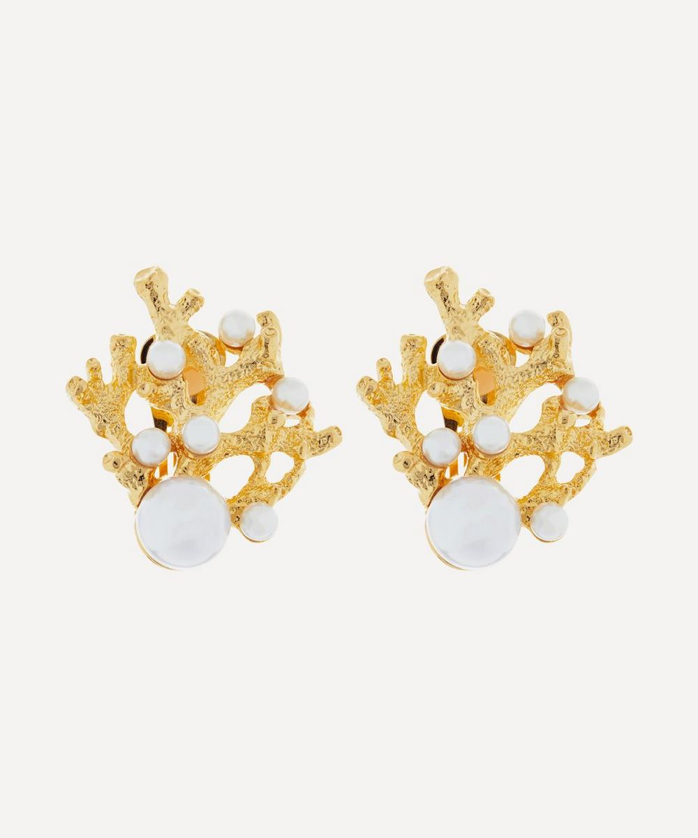 Kenneth Jay Lane - Gold-Plated Faux Pearl Coral Clip-On Earrings
