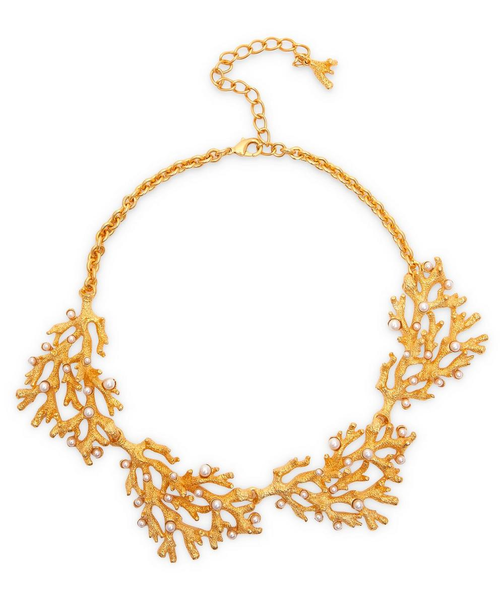 Kenneth Jay Lane - Gold-Plated Faux Pearl Coral Chain Necklace