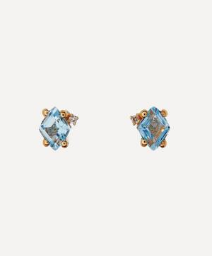 Gold Blue Topaz and Diamond Stud Earrings