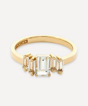 Gold Emerald Cut White Topaz Ring