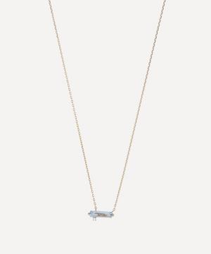 Gold Baguette Cut Blue Topaz and Diamond Pendant Necklace