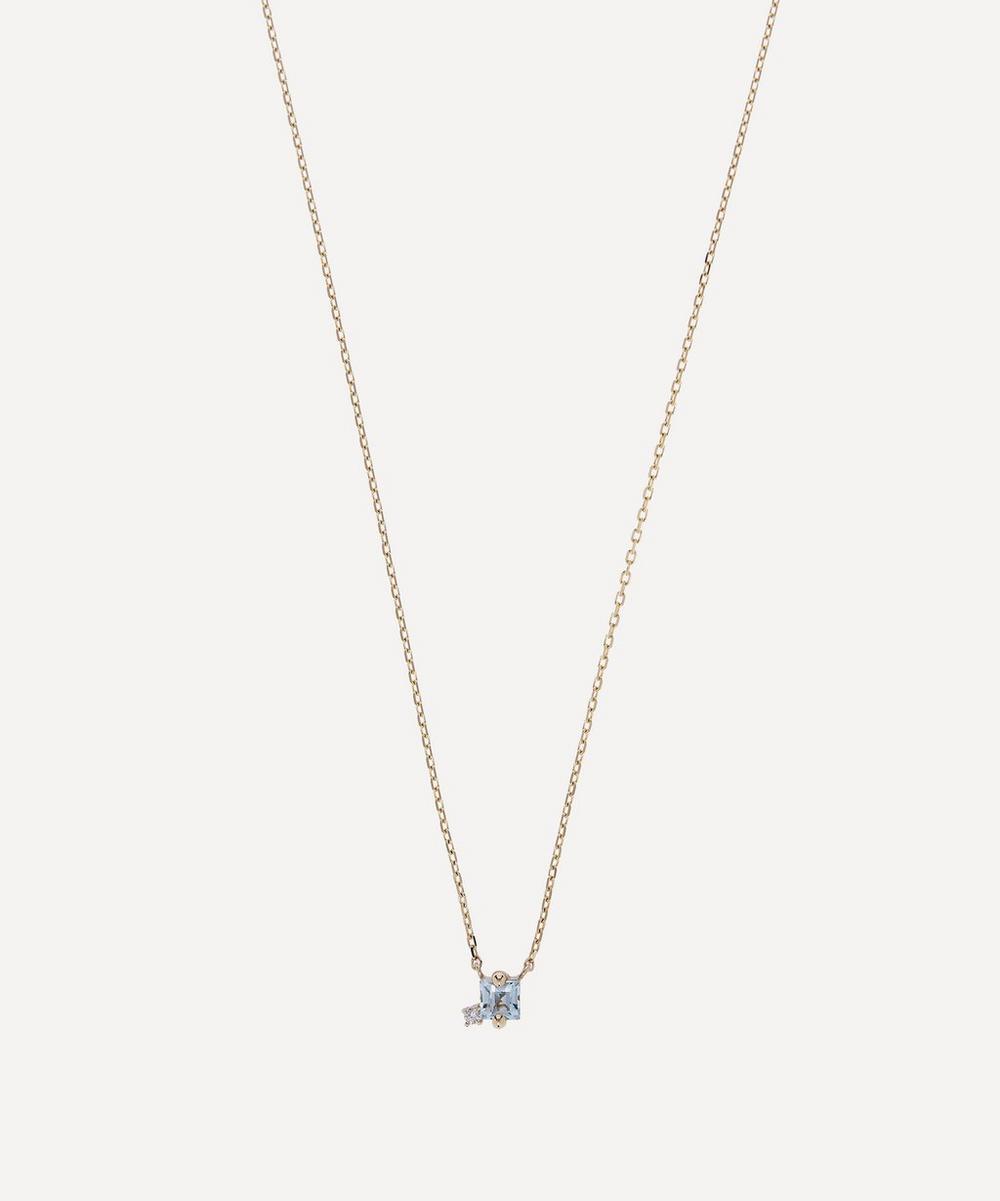 Suzanne Kalan - Gold Princess Cut Blue Topaz and Diamond Pendant Necklace