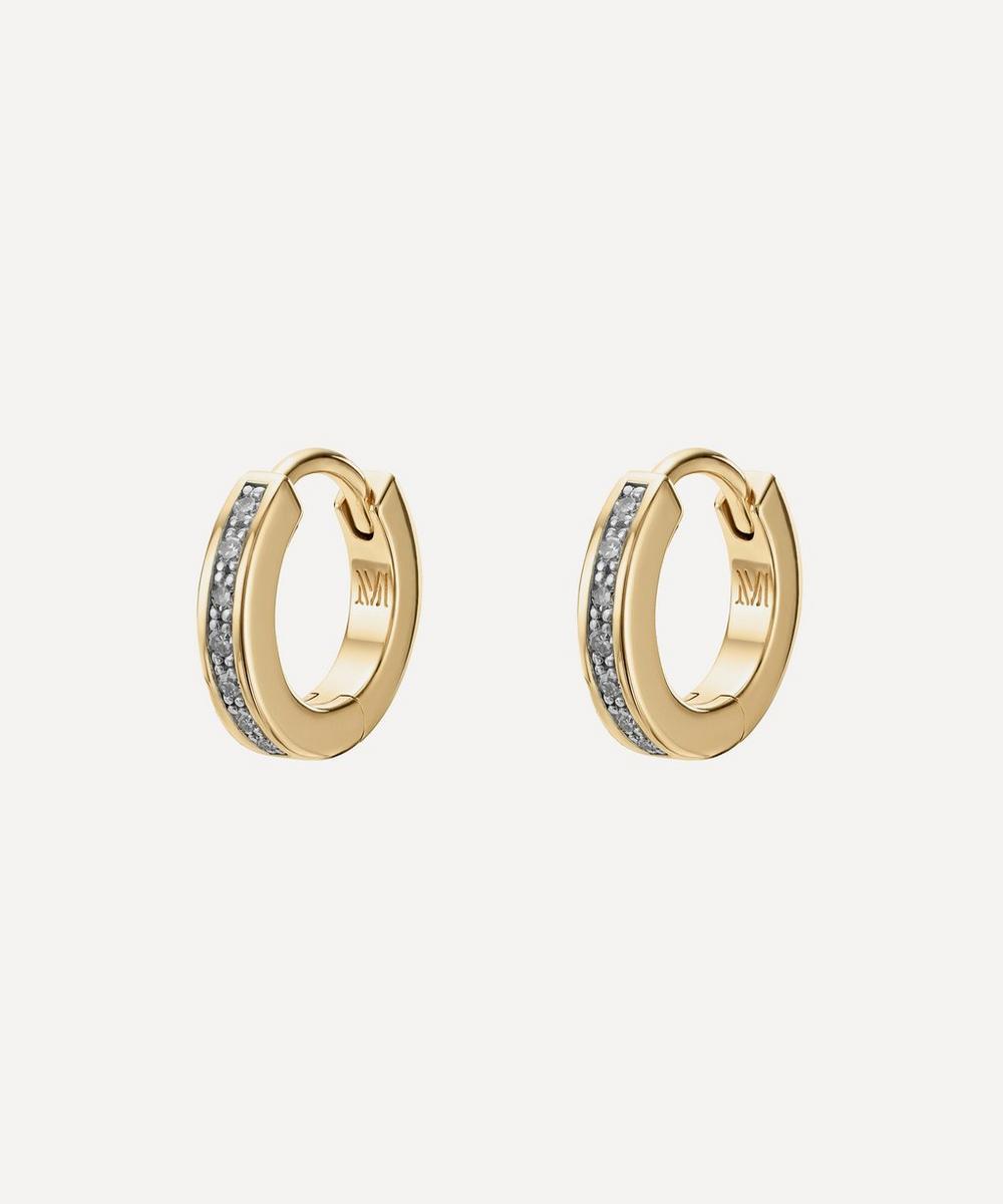 Monica Vinader - Gold Plated Vermeil Silver Skinny Diamond Huggie Hoop Earrings