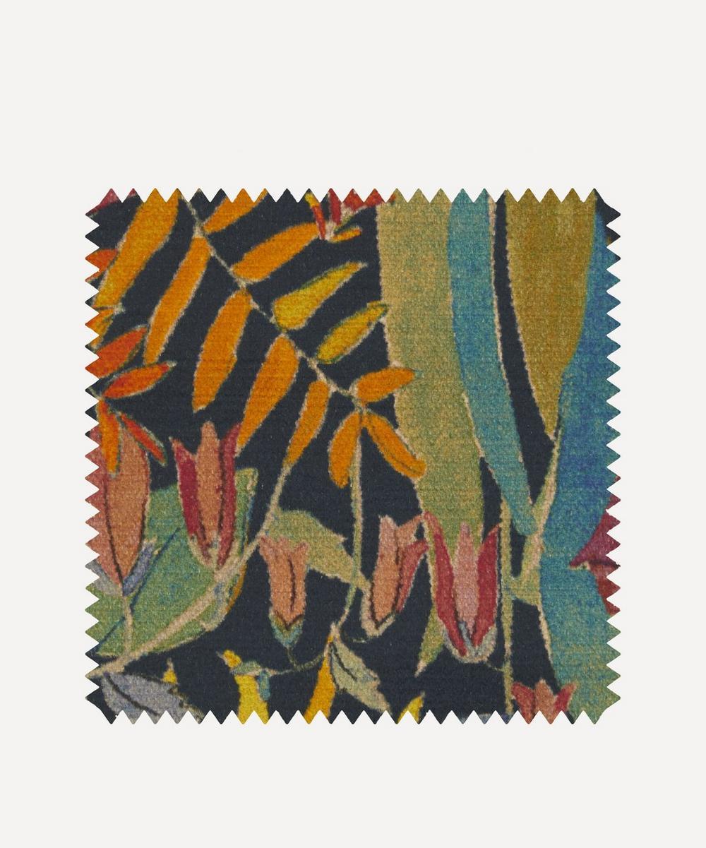 Liberty Fabrics Interiors - Fabric Swatch - Faria Flowers Vintage Velvet in Lichen