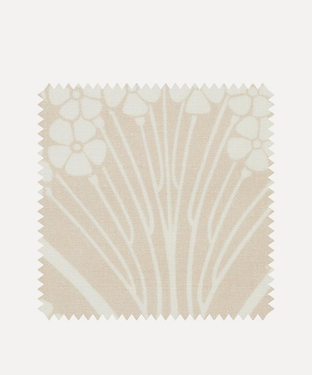Liberty Fabrics Interiors - Fabric Swatch - Ianthe Bloom Mono Chiltern Linen in Pewter Plaster Pink