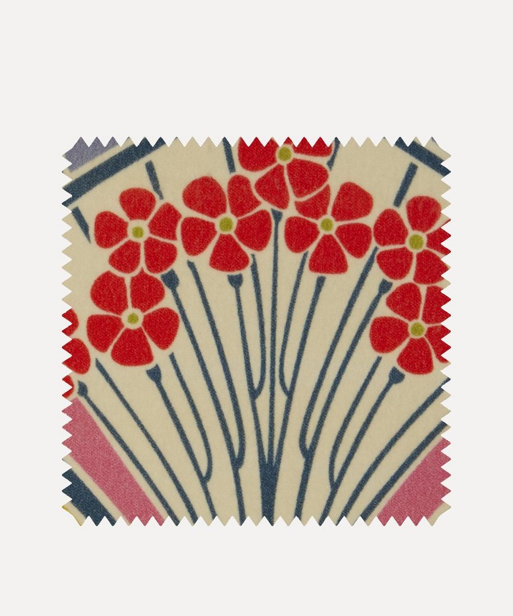 Liberty Fabrics Interiors - Fabric Swatch - Ianthe Bloom Multi Cotton Velvet in Lichen