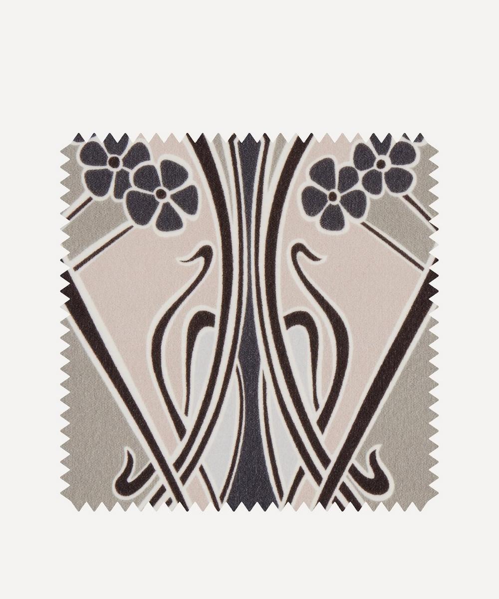 Liberty Fabrics Interiors - Fabric Swatch - Ianthe Bloom Multi Cotton Velvet in Pewter Dark