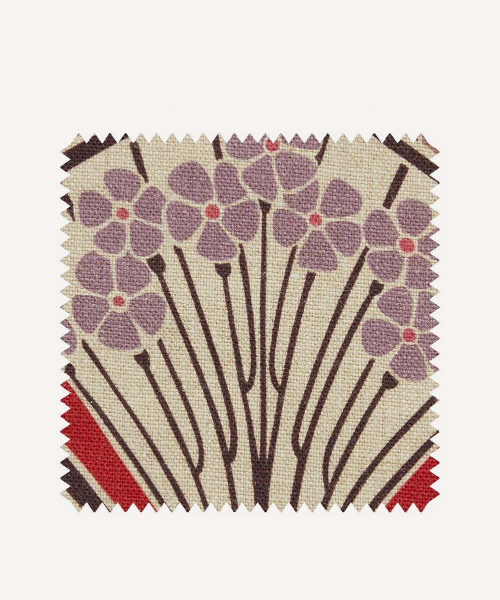 Liberty Fabrics Interiors - Fabric Swatch - Ianthe Bloom Multi Ladbroke Linen in Lacquer