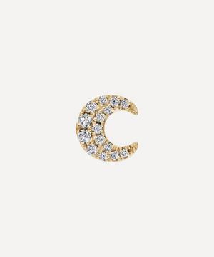 Diamond Moon Threaded Stud Earring