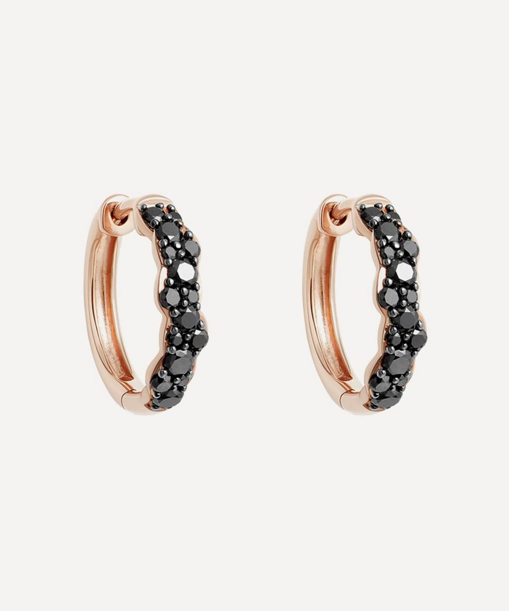 Astley Clarke - Rose Gold Medium Interstellar Black Diamond Hoop Earrings