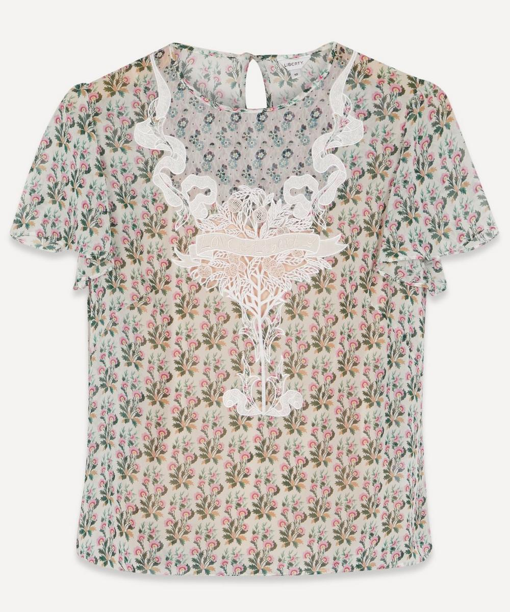 Liberty - Celia Embroidered Silk T-Shirt