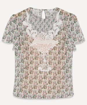 Celia Embroidered Silk T-Shirt