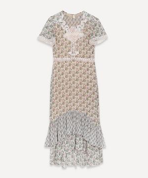Celia Embroidered Silk Midi Dress