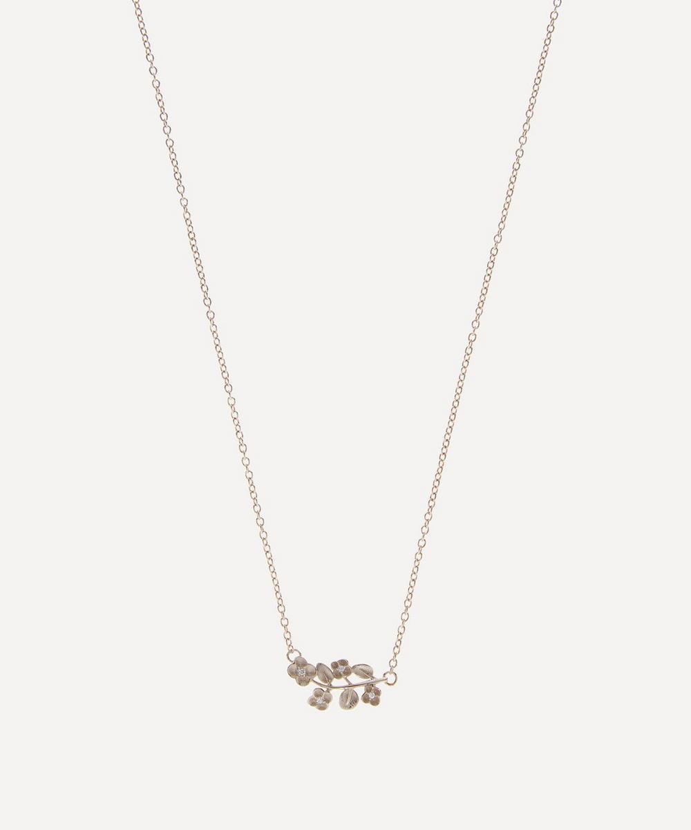 Liberty - White Gold Diamond Blossom Pendant Necklace
