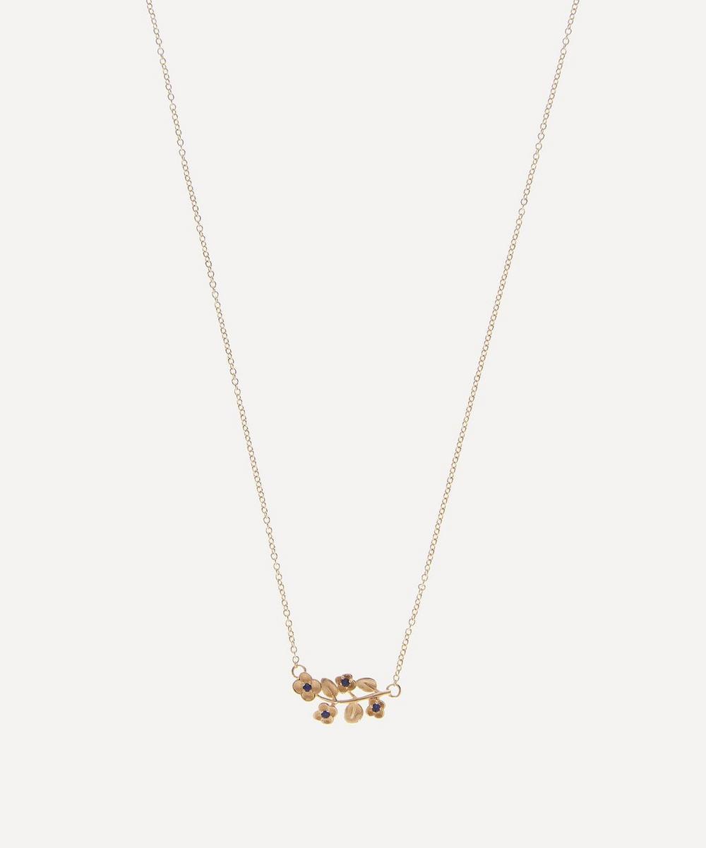 Liberty - Gold Blue Sapphire Blossom Pendant Necklace