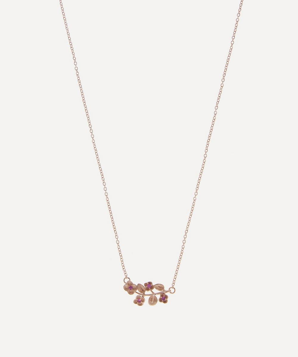 Liberty - Rose Gold Pink Sapphire Blossom Pendant Necklace