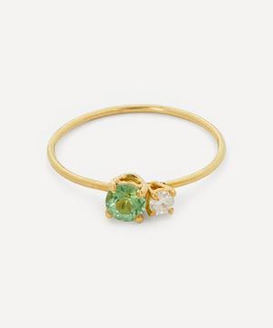 Gold Principesca Diamond and Green Tourmaline Ring