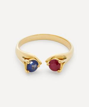 Gold Mirror Sapphire and Ruby Ring