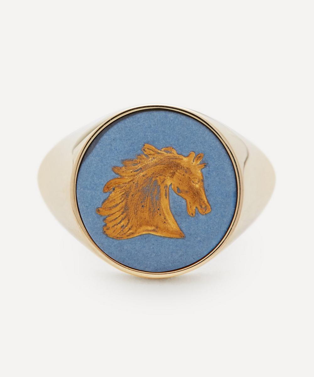 Ferian - Gold Wedgwood Horse Round Signet Ring