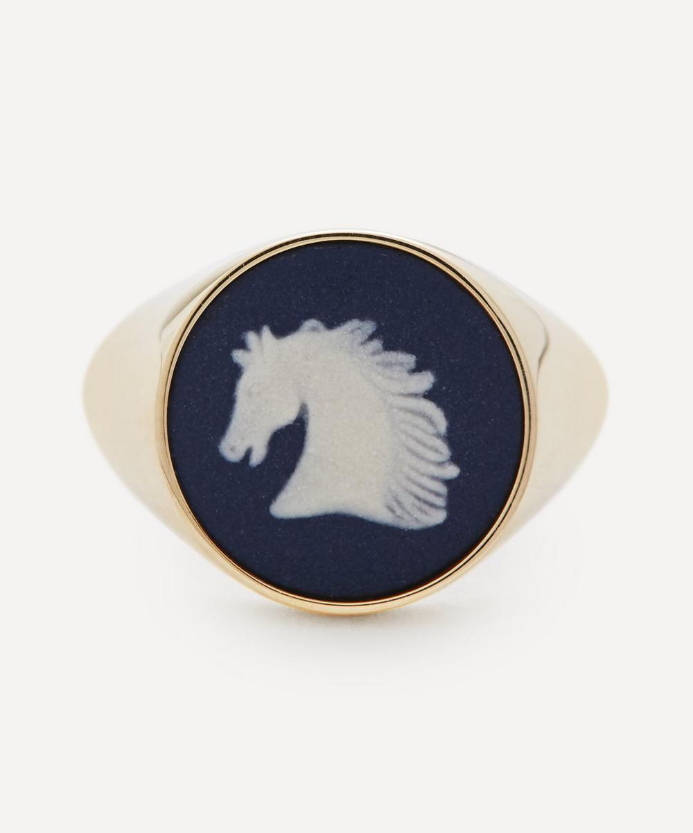 Ferian - Gold Wedgwood Horse Head Round Signet Ring