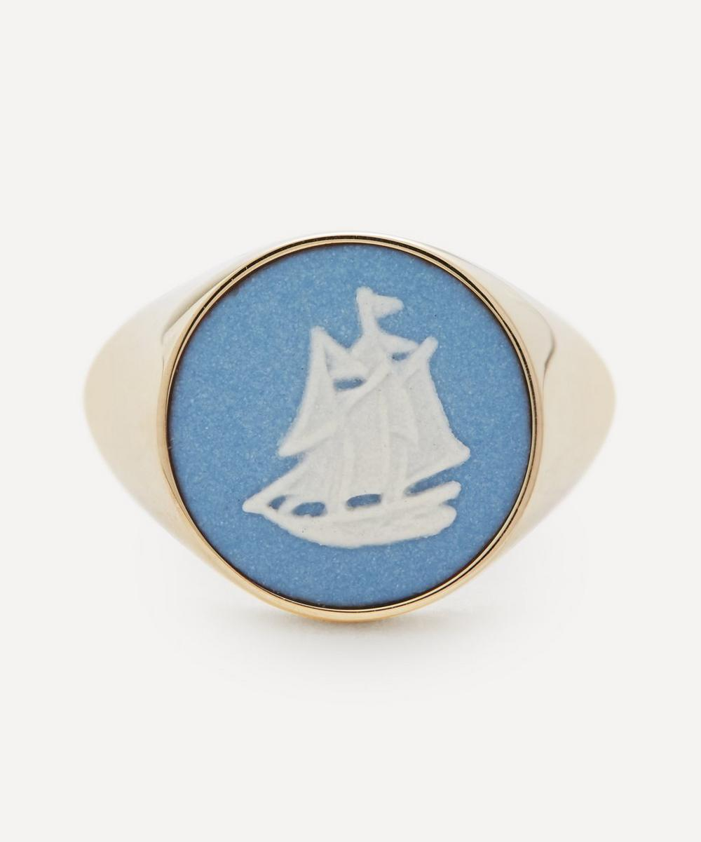 Ferian - Gold Wedgwood Sailboat Round Signet Ring