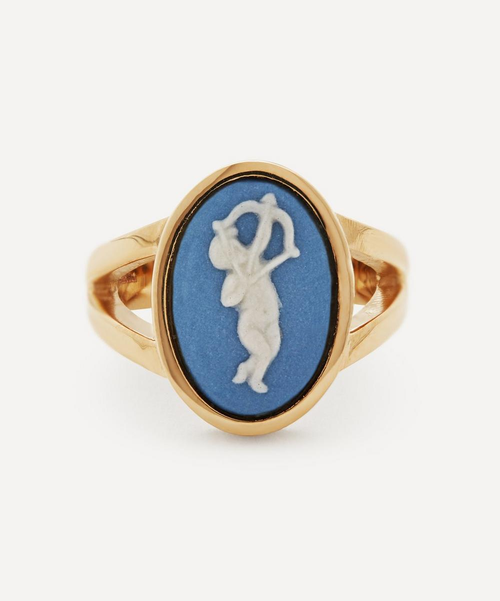 Ferian - Gold Wedgwood Cupid Medium Oval Split Ring