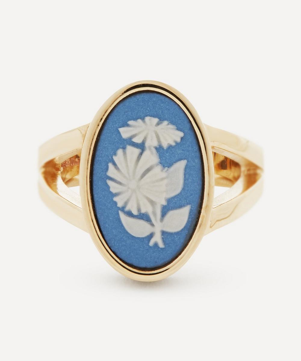 Ferian - Gold Wedgwood Flower Medium Oval Split Ring