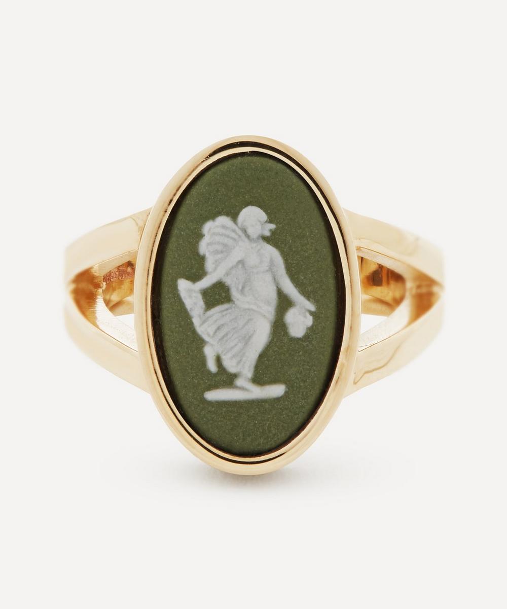 Ferian - Gold Wedgwood Fairy Medium Oval Split Ring
