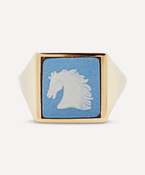 Gold Wedgwood Horse Head Square Signet Ring
